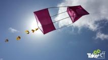 <h5>Reuzenvlieger hoog in de lucht</h5><p>Mooie Reuzenvlieger die ondanks de vervorming aan de voorkant toch nog goed bleef vliegen.</p>
