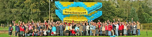 Enorme Megavlieger gebouwd met 208 deelnemers tijdens de Kickoff voor een heel nieuw project binnen de RD Media Groep