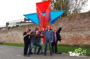 reuzevlieger gebouwd bij een bedrijfsuitje in Harderwijk