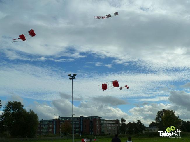 Mooie Reuzenvliegers in de lucht boven Harderwijk na afloop van deze leuke workshop.