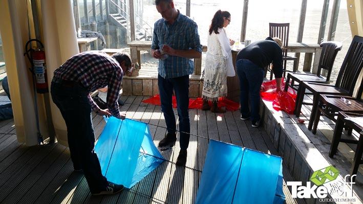 Workshop Megavlieger bouwen op de Brouwersdam.