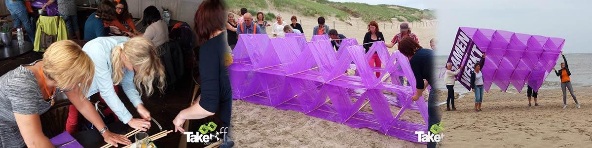 Workshop Megavlieger bouwen in Noord Holland. Leuk als teambuilding met een grotere groep.